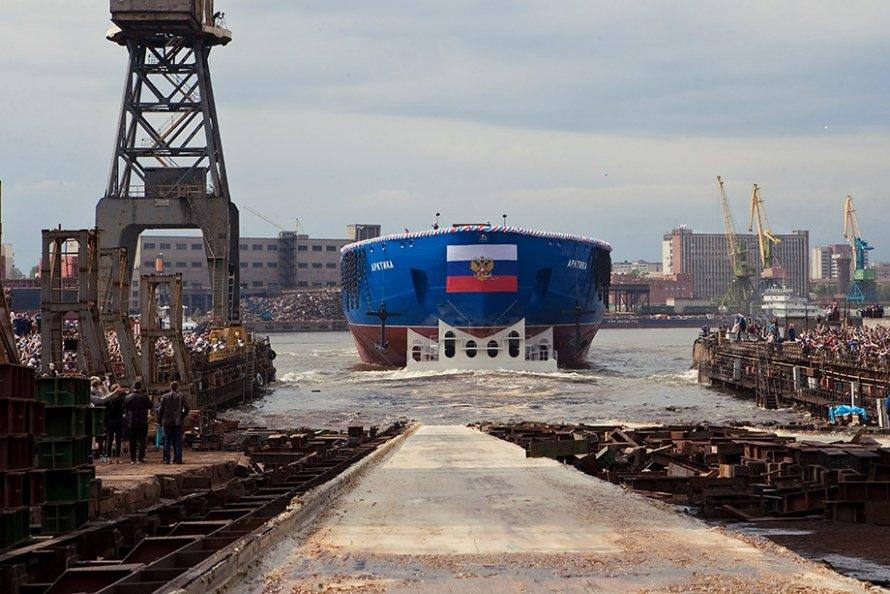Самый большой и мощный в мире ледокол «Арктика» спущен на воду в Петербурге (16.06.2016)