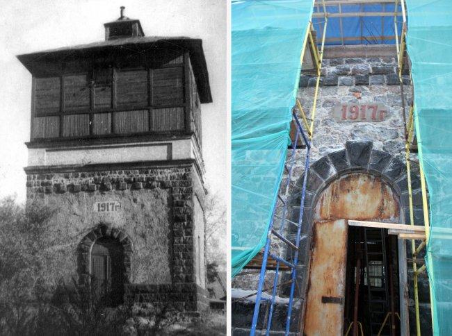 Водонапорная башня. Исторический и современный вид