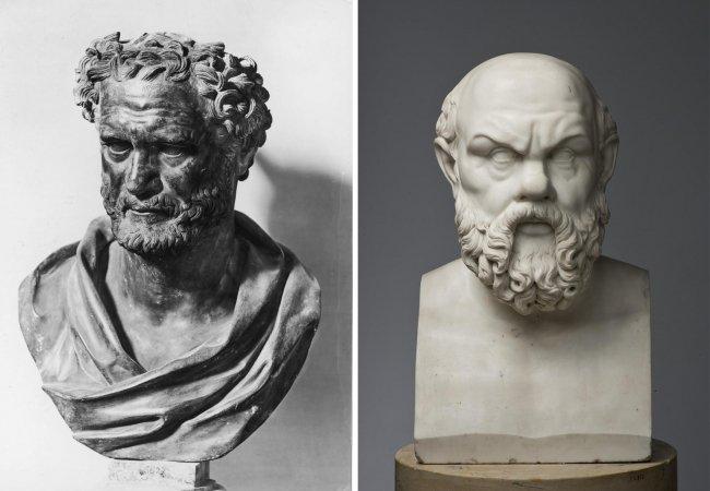 Бронзовый бюст Демокрита (слева) и бюст Сократа