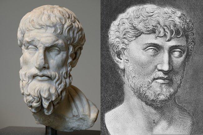 Эпикур (слева) и Тит Лукреций Кар