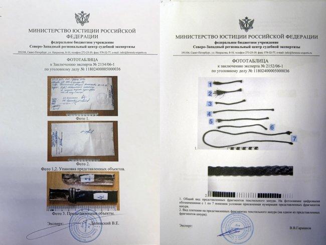 Части ножа, который УФСИН называло супинаторами (слева ), и фототаблицы из экспертизы с тем самым шнурком