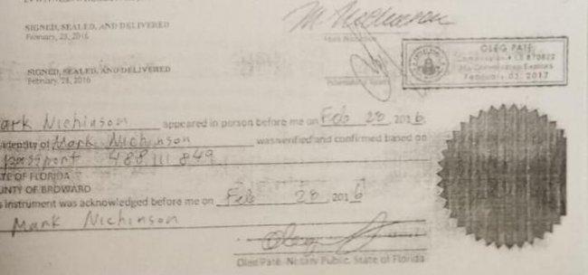 Подпись Пшеничного (вторая) и заверенная подпись Никинсона