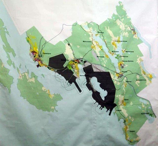 Схема застройки прибрежных территорий. Фото из архива автора