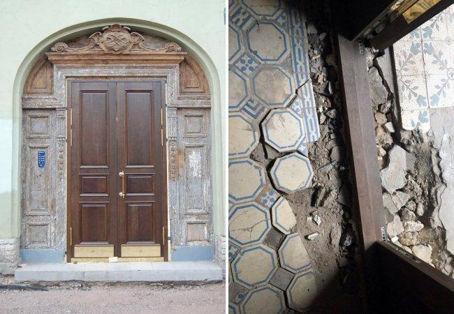 Cлева: одна из замененных Газпромом дверей в рамках программы «благоустройства» на Петроградской стороне. Справа: во время замены дверей рабочие разбили старую напольную плитку