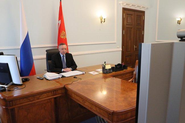 Губернатор Петербурга Александр Беглов участвует в совещании глав регионов с Владимиром Путиным. Фото: gov.spb.ru