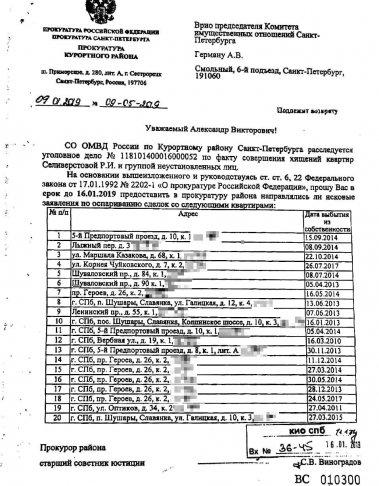 Письмо прокурора Курортного района Петербурга — чиновникам Смольного