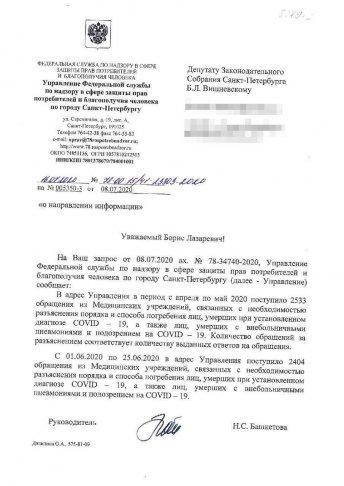 Ответ на обращение Бориса Вишневского из Роспотребнадзора