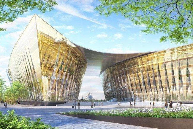 Концепция развития территории Охтинского мыса от архитектурного бюро Nikken Sekkei. Фото из презентации проекта