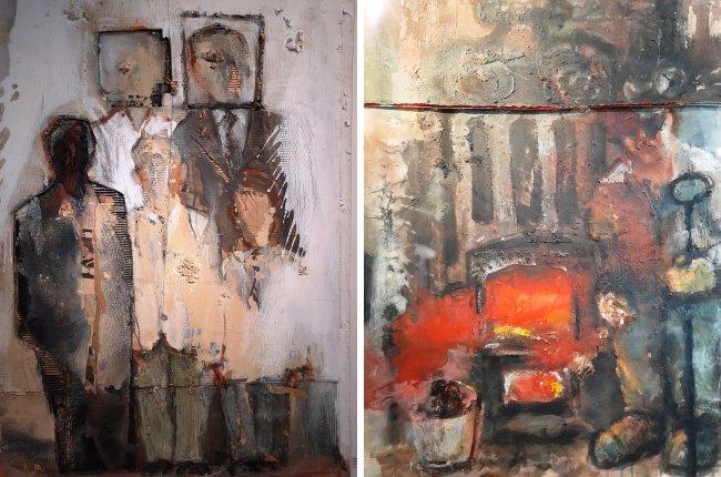 Картины «Семейный портрет» (с подзаголовком «Я ничеготне помню») и «Кочегар»